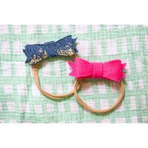 Other - Baby Glitter Denim & Felt Nylon Headband Set